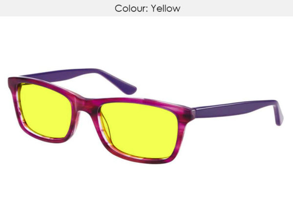 Adults Yellow Uv400 Tinted Glasses For Dyslexia Read123