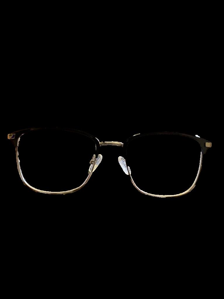 Black plastic/silver DESIGNER frame (SPRING SIDES)+ TINT INCLUDED, Size: 53-18 Model: E113